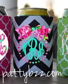 Lilly Inspired Monogram Can Coozie-lilly pulitzer can coozie monogram can coozie can koozie neoprene cozie chevron koolie greek key monogram monogram gift
