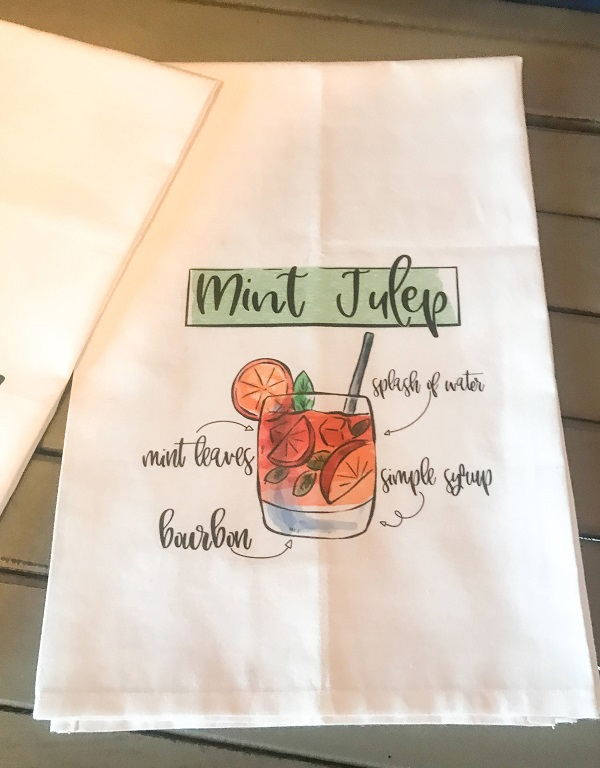 Derby Towels-large 28.5 x 28.5 cotton towel with Mint Julep recipe and lady wearing large hat with Talk Derby to Me