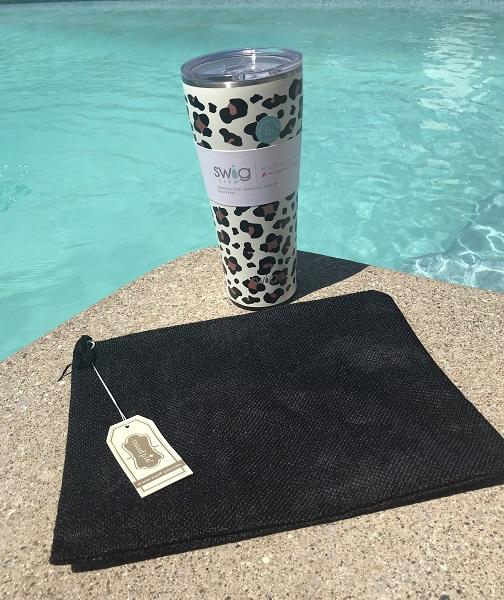 Gift Bundle - Luxy Leopard Tumbler - Wet Bikini Bag-Luxy Leopard, Luxy Leopard tumbler, Swig Life, Swig, 32 oz tumbler, double-walled tumbler, vacuum-sealed tumbler, copper-coated insulation tumbler, tumbler, Swig Life tumbler, jute case, jute wet bikini bag, wet bikini bag, jute clutch, jute makeup bag, makeup bag