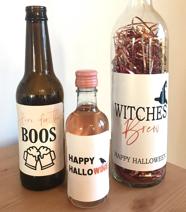 Halloween Wine, Beer Label-with your choice of cute Halloween sayings to add a festive touch to your party