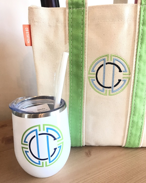 Wine Tumbler-in white, personalized with initial in green, light blue, navy vinyl