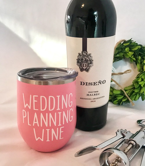 Wedding Planning Tumbler-20 ounce cup in pink with white vinyl letters