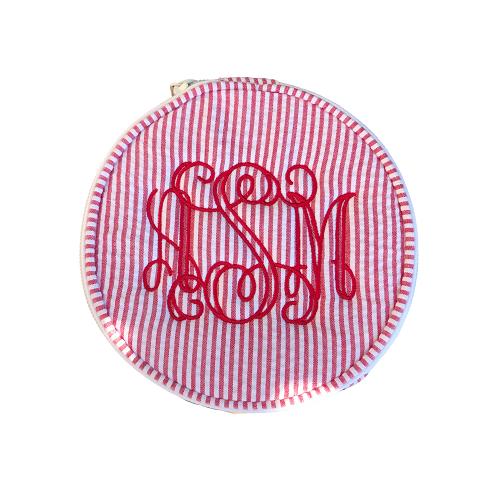 Monogram Seersucker Jewelry Round - Button Bag - Personalized Gift-monogram seersucker jewelry round, seersucker jewelry round, button bag, personalized gift, custom gift, unique present, monogram, personalized, bridesmaid, graduation, baby, bridesmaid gift, personalized button bag, monogram jewelry round
