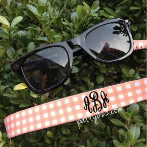 Kid Size Monogram Sunglass Straps - Gingham Design - Croakies - Mini Me - Monogram Gift - Just Like Mom-kid croakie, kid sunglass, croakie, sunglass croakie, sunglass strap, family reunion, family outing, school outing, school, customized, personalized neoprene croakies, eyeglass strap, custom, monogrammed glitter sunglass strap, glitter vinyl, glitter, glitter croakie, kid size monogram sunglass strap, gingham design, kid size gingham design, kid size monogram sunglass strap, mini me, monogram gift, just like mom