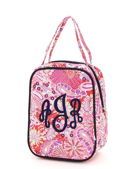 Paisley Quilted Lunch Bag-in adorable colors of hot pink and navy ready to be personalized with your name or monogram
