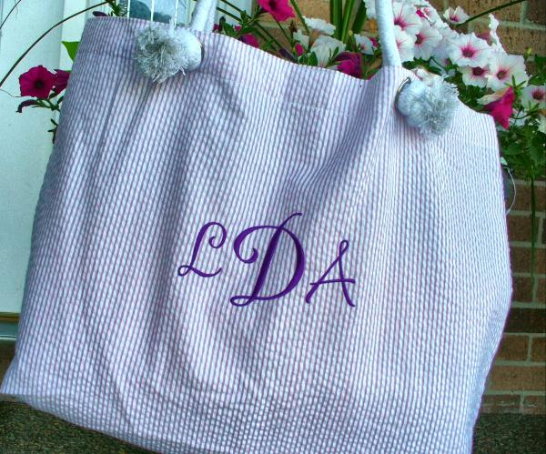 Monogram Beach Bag - Market Bag - Everything Tote - Book Bag-market bag, tote, beach bag, book bag, everything tote, seersucker tote, oh mint, mint sweet little things, custom bag, bag, seersucker tote, stripe gingham seersucker, beach bag, monogram beach bag, diaper bag, laptop tote, purse, monogram purse, monogram bag, monogram totes, market bag, market tote, custom tote, laptop bag