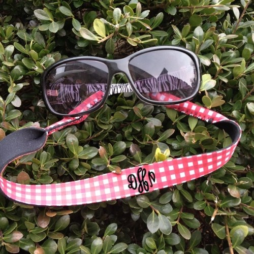 Monogram Sunglass Strap - Gingham - Croakies - Monogram Gift - Glitter Vinyl Now Available-monogram sunglass strap, gingham, croakie, sunglass croakie, sunglass strap, bride, groom, wedding party, wedding gift, family reunion, family outing, school outing, school, customized, personalized, neoprene croakies, eyeglass strap, custom, monogrammed gingham, gingham sunglass strap