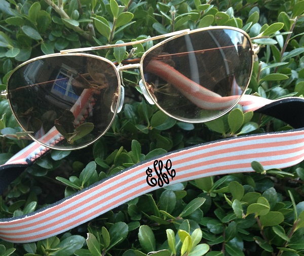 Monogram Stripe Sunglass Strap - Croakies-monogram stripe sunglass strap, croakie, sunglass croakie, sunglass strap, bride, groom, wedding party, wedding gift, family reunion, family outing, school outing, school, customized, personalized, neoprene croakies, eyeglass strap, custom, monogrammed stripe