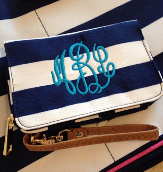 Monogram Wristlet - Holds Your Phone & ID - Back to School-monogram wristlet, wallet for phone, wristlet for ID, credit card holder, monogram, personalized, custom monogram, navy stripe wristlet, pink ikat wristlet, pink stripe wristlet, mint stripe wristlet, holds your phone  ID, back to school