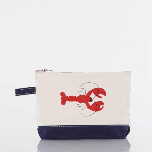 Zipper Canvas Makeup Bag-in navy with a red crawfish embroidered