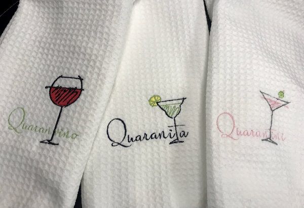 Quarantine Embroidered Tea Towel-Waffle weave towel with Quaranvino, Quaranita or Quarantini embroidered words with wine glass, martini glass and margarita glass