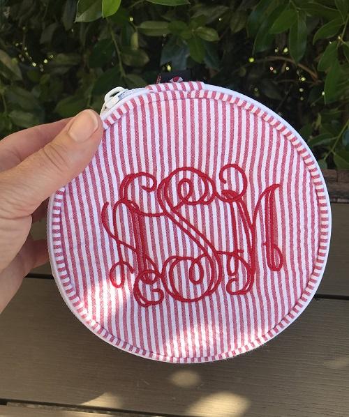 Seersucker Jewelry Holder-round red seersucker zippered pouch embroidered with monogram