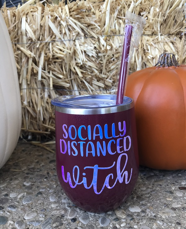 Socially Distanced Witch - Wine Cup - Halloween Wine Glass-wine cup, drink up witches, halloween wine glass, shimmer wine tumbler, opal vinyl, halloween gift, hostess, custom tumbler, unique cup, best present to give, personalized gift, housewarming, vino, barware, socially distanced witch, halloween, party cup