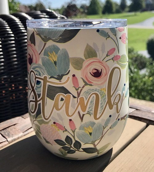 Stainless Steel Drink Tumbler - 12 oz Stemless Wine Cup-Portland, Stemless Wine Cup, Swig, 12 oz wine cup, double-walled cup, vacuum-sealed, copper-coated insulation, wine, wine cup, portland stemless wine cup, peach floral, stainless steel wine cup, bridemaid gift, teacher gift, custom gift, personalized gift, monogram present