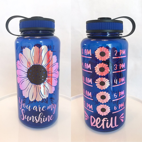 Sunflower Water Bottle-in blue personalized with a sunflower and quote you are my sunshine in a holographic vinyl