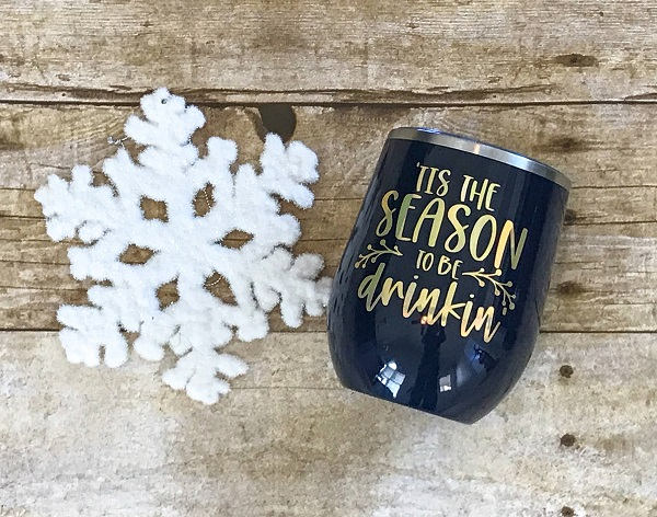 Season to be Drinkin Cup-12 ounce insulated tumbler in navy with gold letters