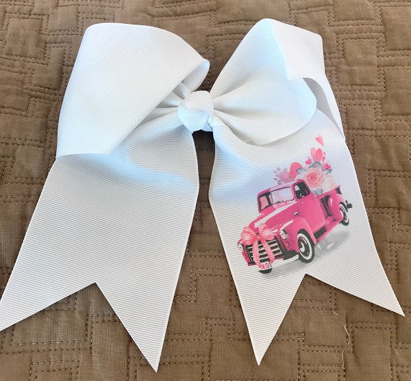 Valentine's Day - Monogram - Hair Bow - Valentine Truck-valentines day, valentines day bow, accessories, hair accessories, barrettes and clips, valentines hair bow, girls valentines bow, monogram hair bow, monogram valentine, custom hair bows, boutique hair bows, personalized bows, monogram bows, valentine truck