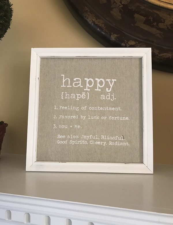 Happy Wood Plaque - Wood Sign - You + Me - Mud Pie-happy wood plaque, wood sign, you + me, mudpie, mud pie wood plaque, definition of happy, distressed frame, wood frame, square wood sign, Home  Living, Home Dcor,    home sign, new home gift, new house,  home hanger, home sign, custom sign