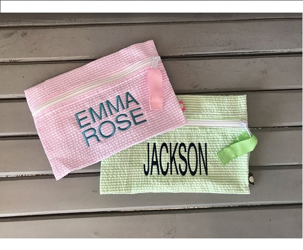 Monogram Zipper Pouch | Pencil Pouch | Cosmetic Bag | Diaper Wipes-monogram zipper pouch, oh mint, mint sweet little things, zipper pouch, cosmetic bag, seersucker, custom, personalized, monogrammed, Halloween, camo, diaper wipes, pencil pouch, seersucker pencil pouch, seersucker, gingham cosmetic bag, gingham, bride, bridesmaid gifts, white seersucker